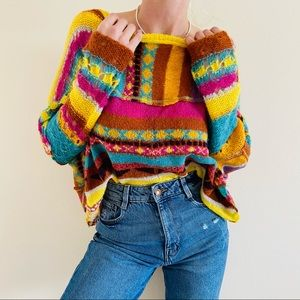 FREE PEOPLE December Skies Knitted Poncho Sweater